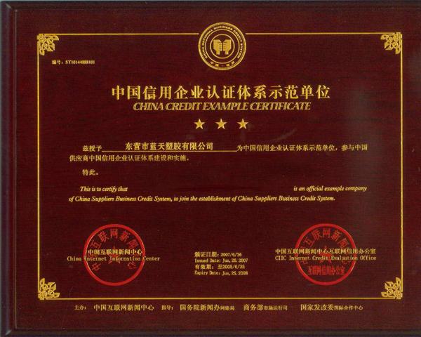 信用企业认证示范单